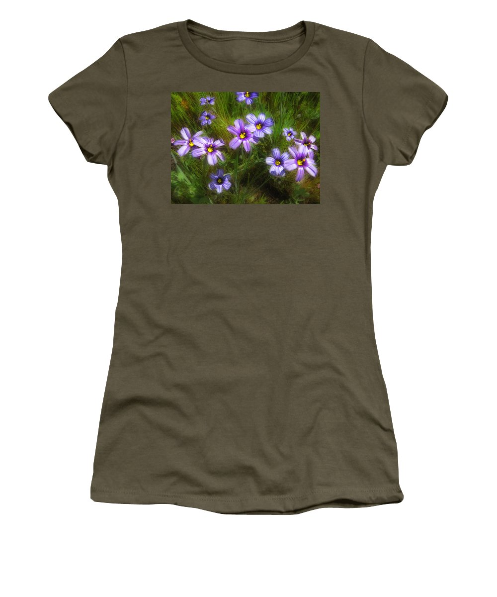 Flowers Women's T-Shirt (Athletic Fit) featuring the photograph Spring Flowers by Karen W Meyer