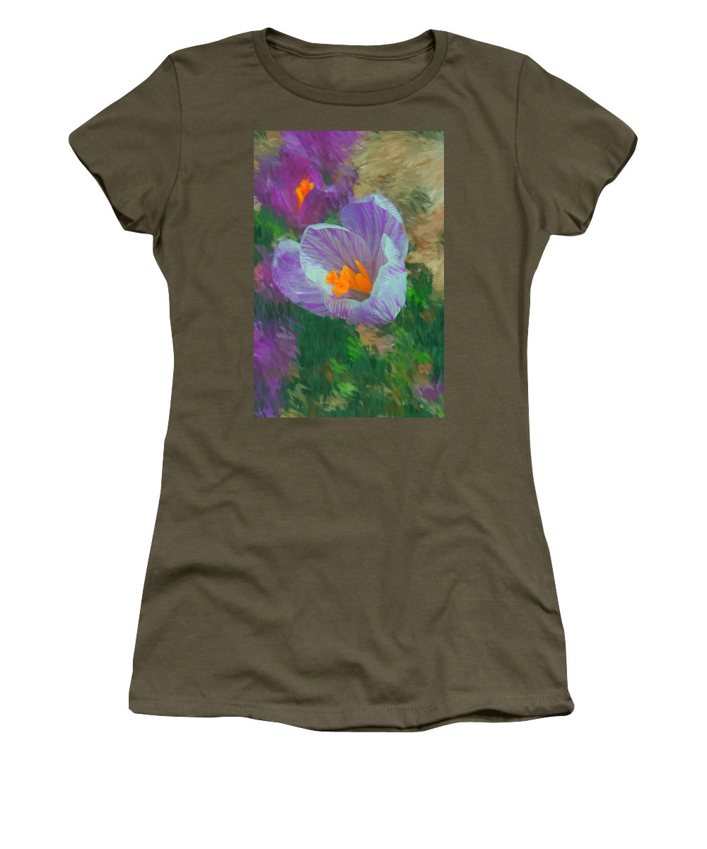 Digital Photography Women's T-Shirt (Athletic Fit) featuring the digital art Spring Has Sprung by David Lane