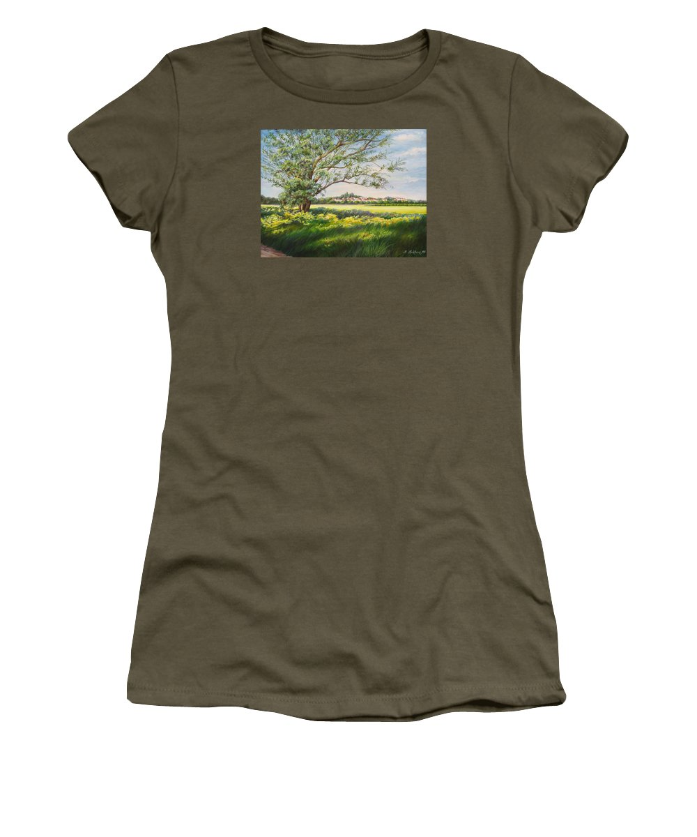 Landscape Women's T-Shirt featuring the painting Spring by Maya Bukhina
