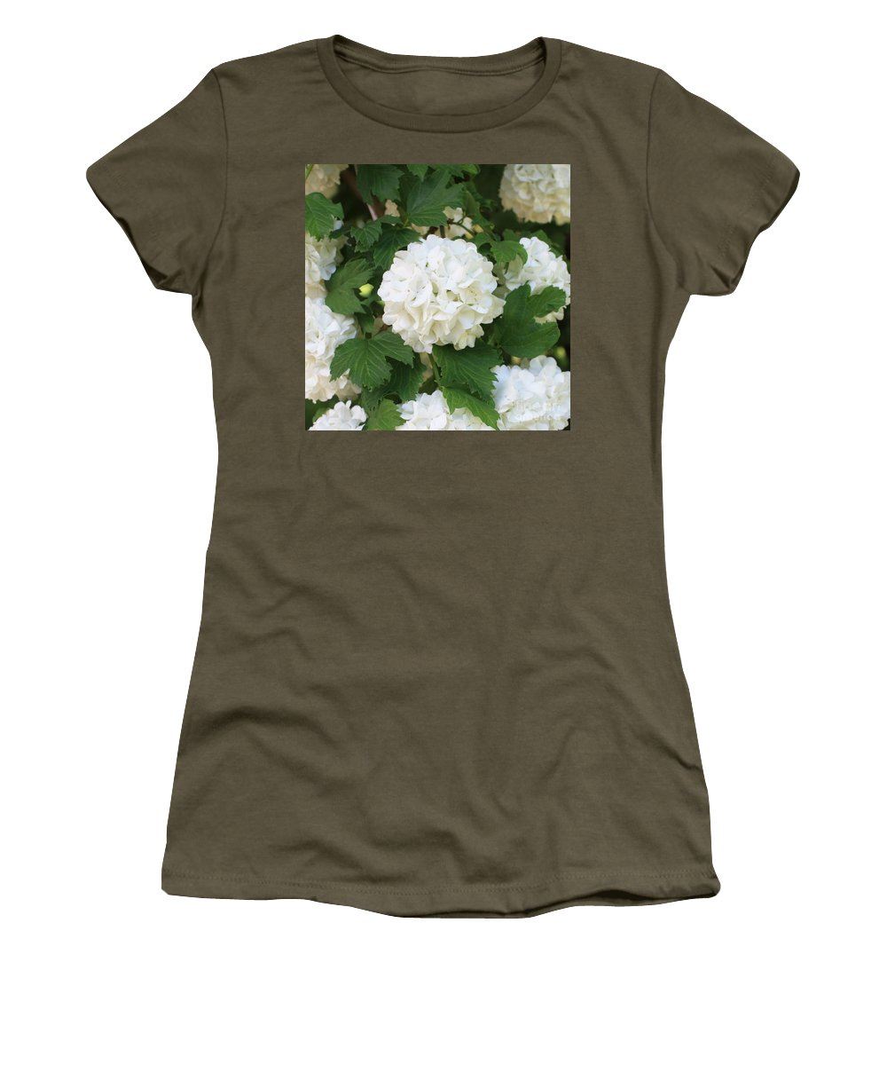Snowball Women's T-Shirt (Athletic Fit) featuring the photograph Spring Snowball by Carol Groenen