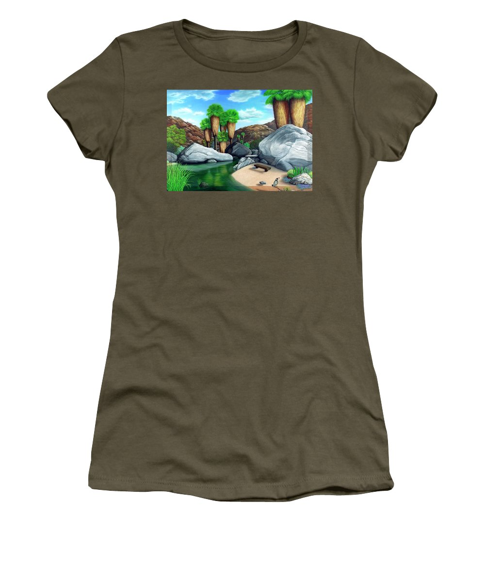 Landscape Women's T-Shirt (Athletic Fit) featuring the painting Springtime In The Canyons by Snake Jagger