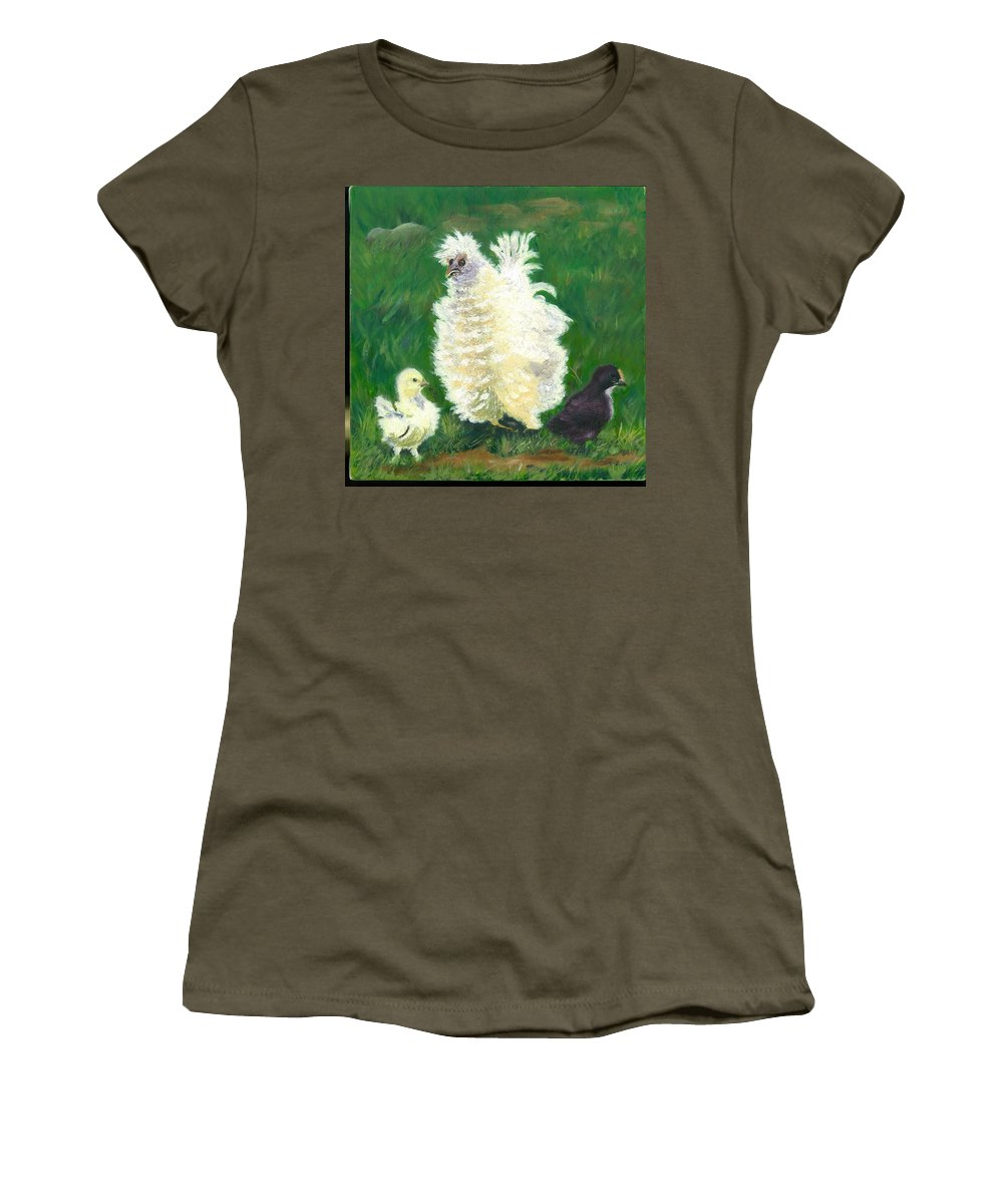 Bantam Frizzle Farmscene Chickens Hen Bird Nature Animals Spring Freerangers Women's T-Shirt (Athletic Fit) featuring the painting Squiggle by Paula Emery