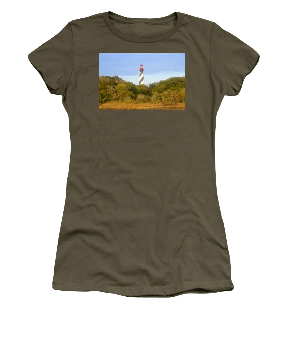 St. Augustine Florida Women's T-Shirt (Athletic Fit) featuring the photograph St. Augustine Light House by David Lee Thompson