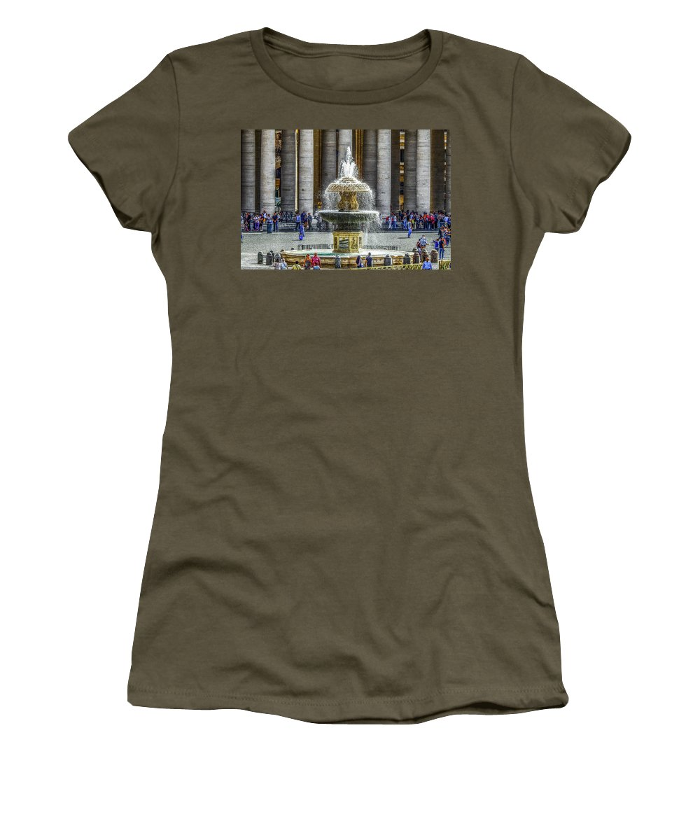 Italy Women's T-Shirt featuring the photograph St. Peter's Square Fountain At The Vatican by Marilyn Burton