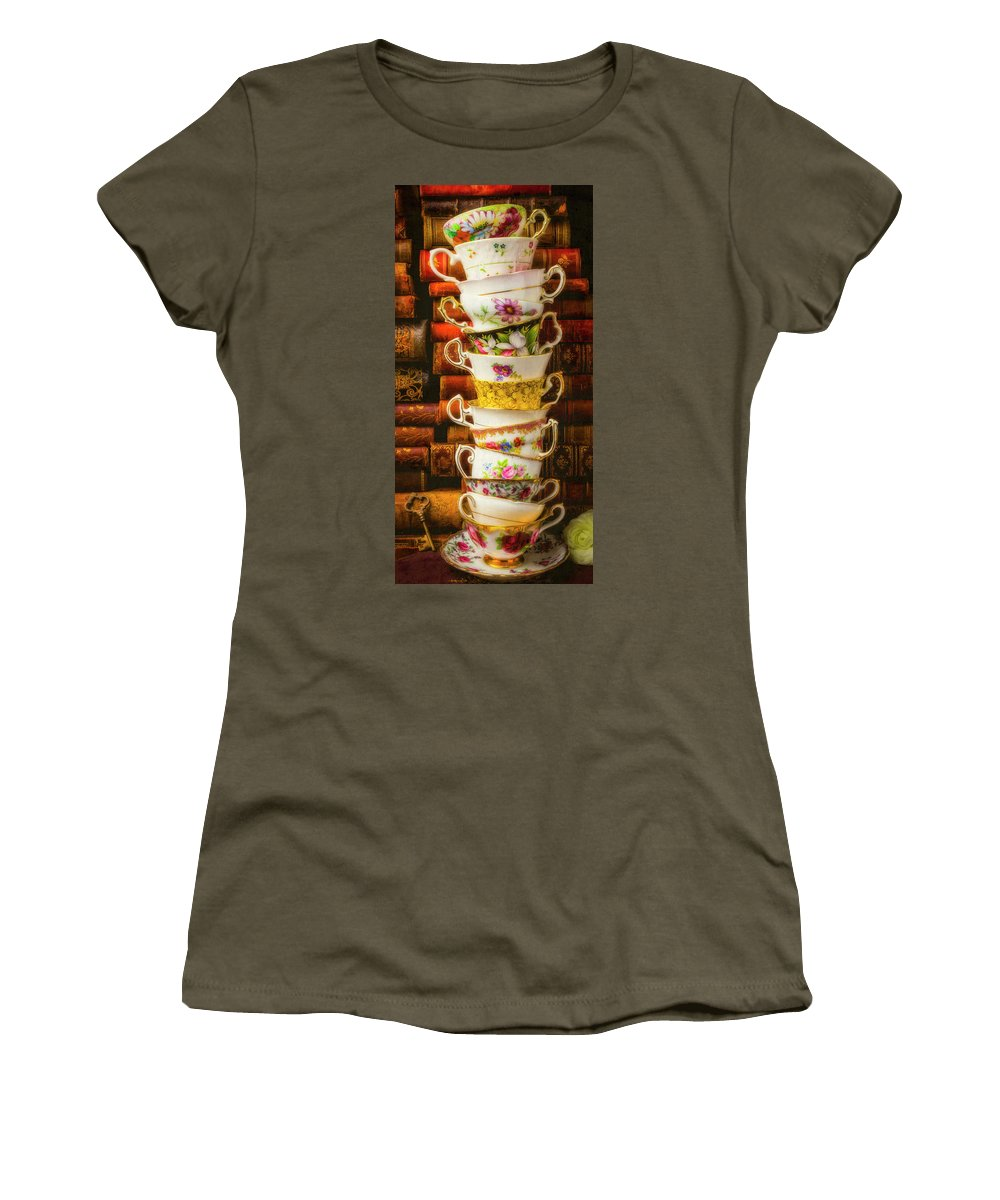 Flower Women's T-Shirt featuring the photograph Stacked High Tea Cups by Garry Gay