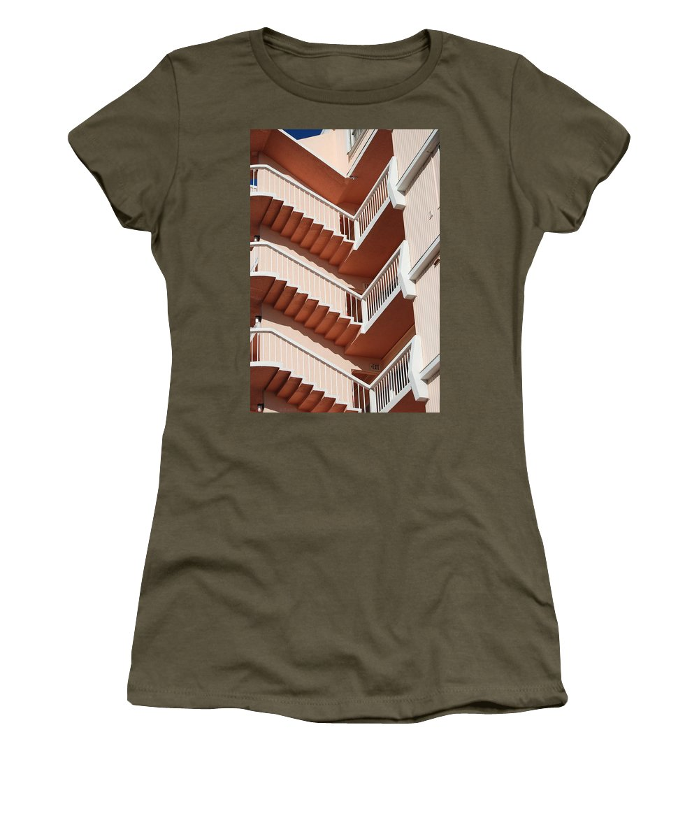 Architecture Women's T-Shirt (Athletic Fit) featuring the photograph Stairs And Rails by Rob Hans