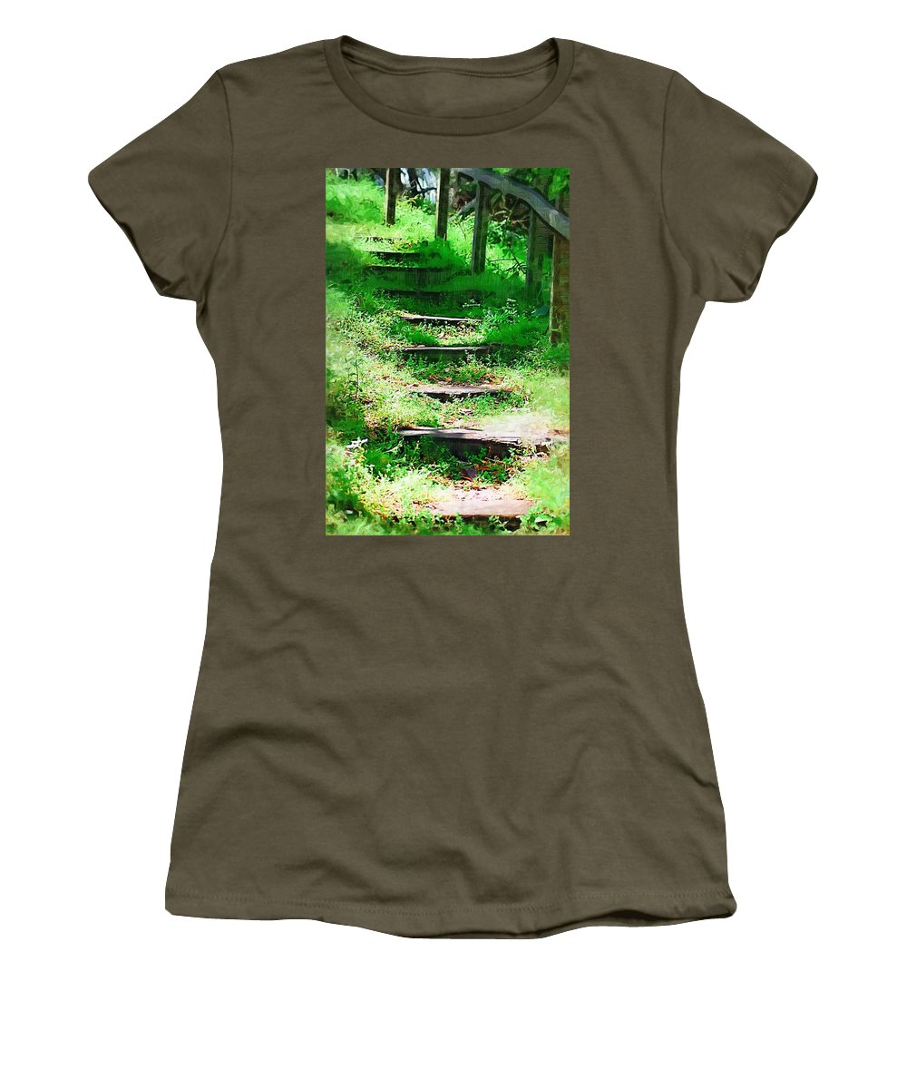 Stairs Women's T-Shirt (Athletic Fit) featuring the photograph Stairway To Heaven by Donna Bentley