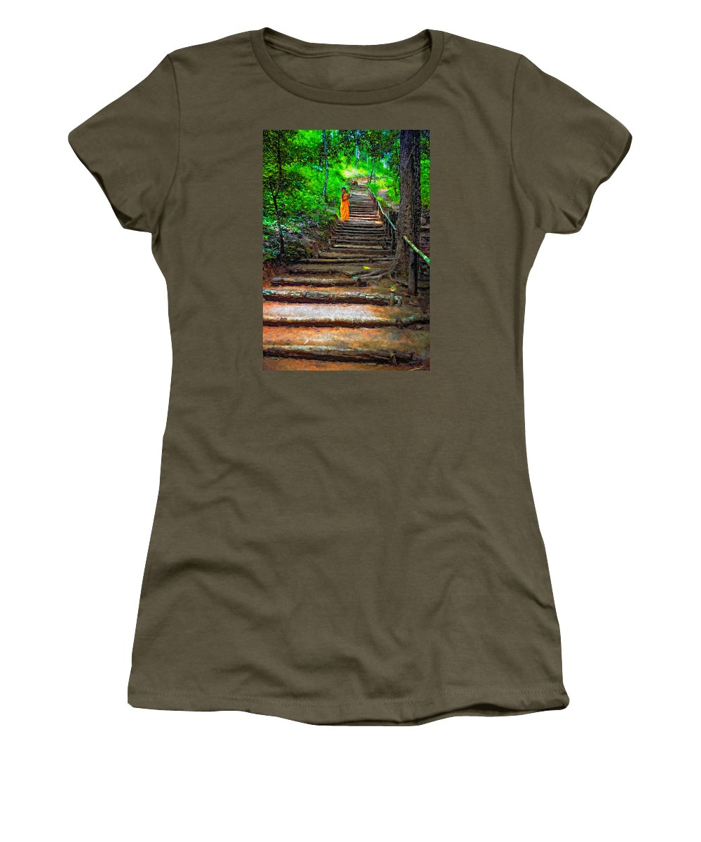 Jungle Women's T-Shirt featuring the photograph Stairway To Heaven Impasto by Steve Harrington