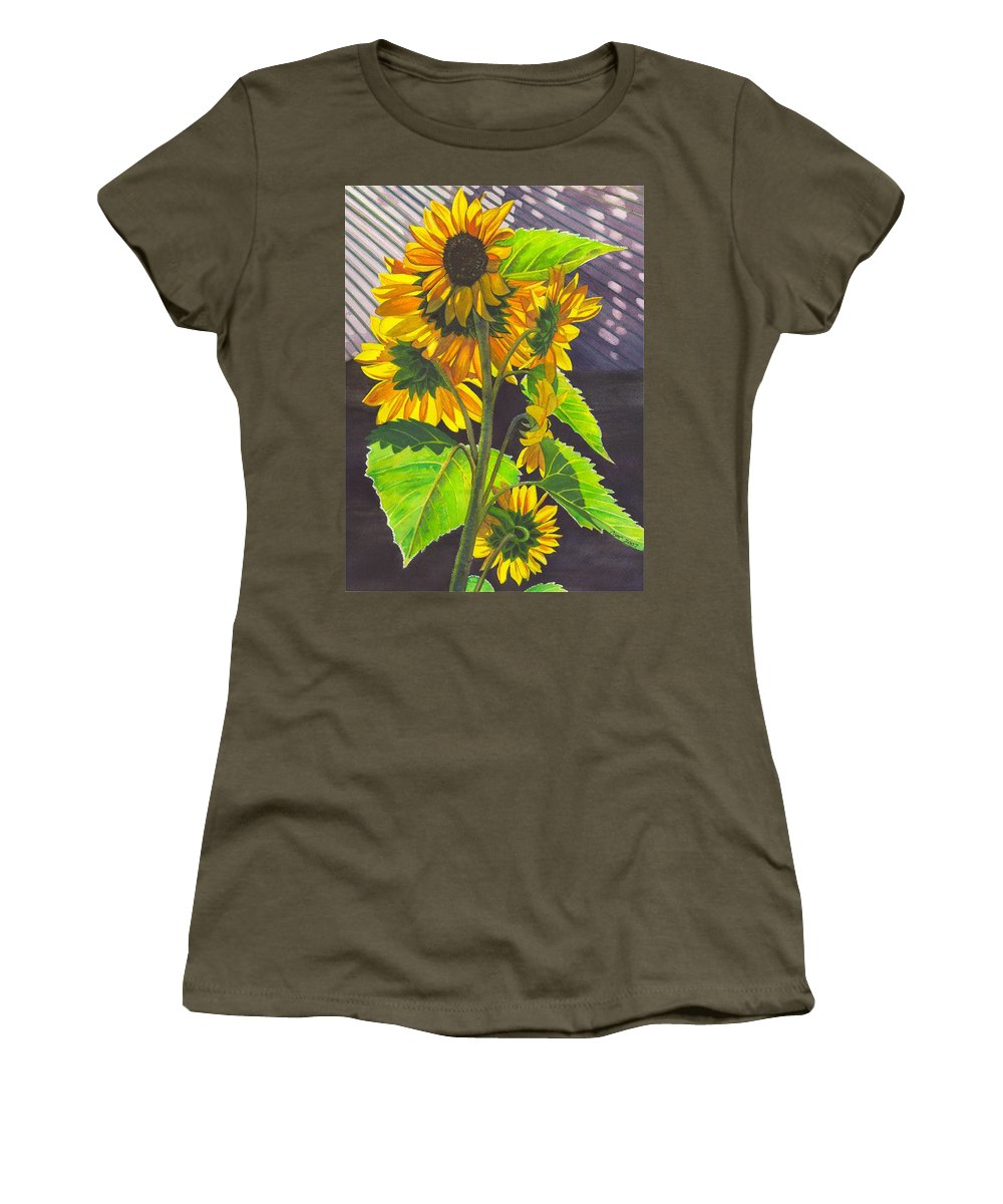 Sunflowers Women's T-Shirt (Athletic Fit) featuring the painting Stalk Of Sunflowers by Catherine G McElroy