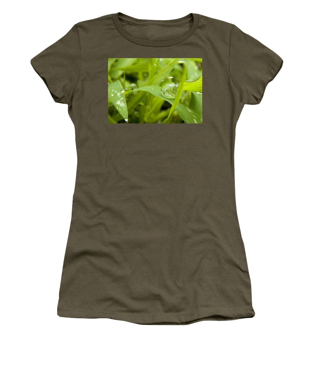 Drop Women's T-Shirt (Athletic Fit) featuring the painting Standstill Drop by Anil Nene