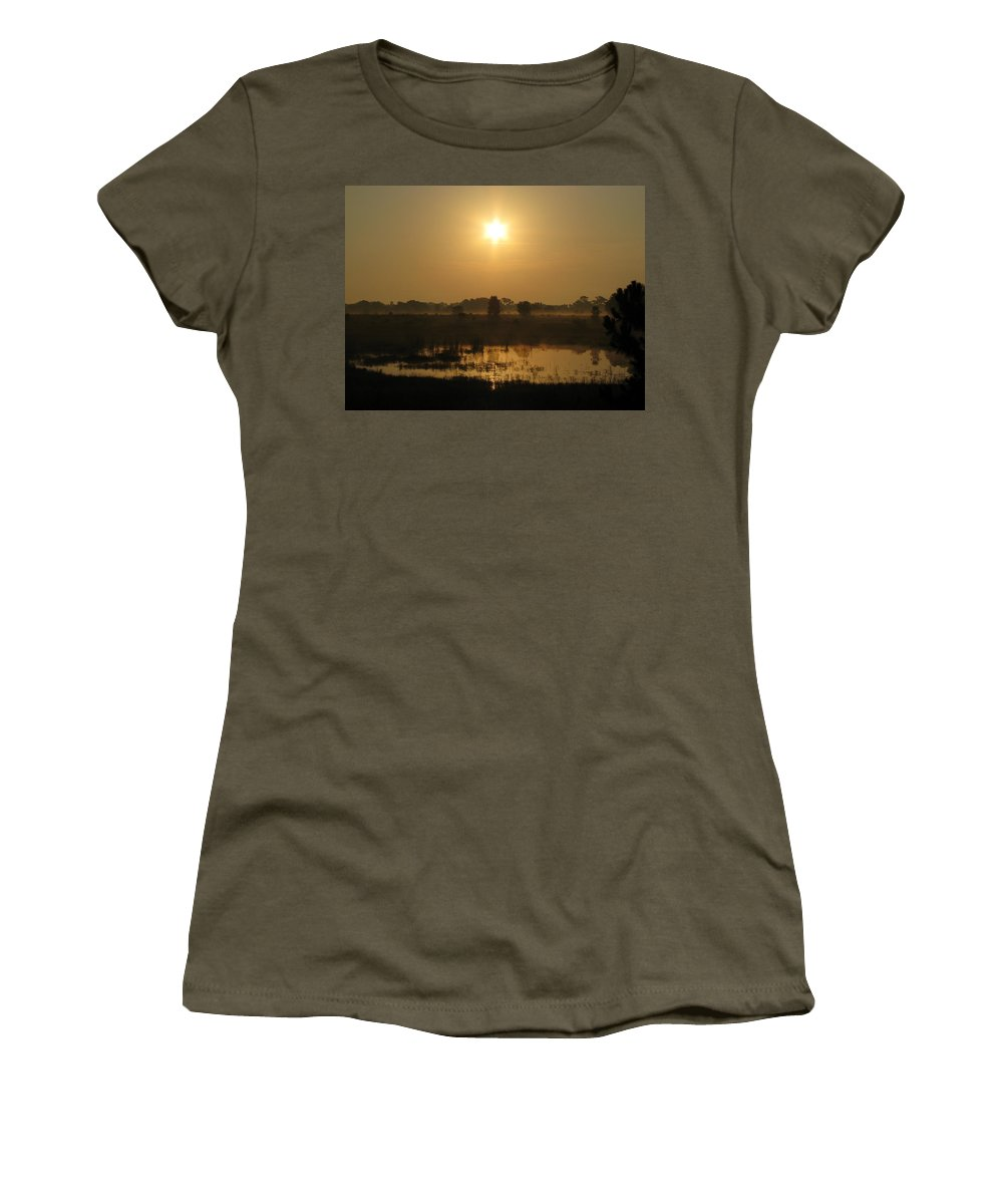 Nature Women's T-Shirt featuring the photograph Starry Sunrise by Peg Urban