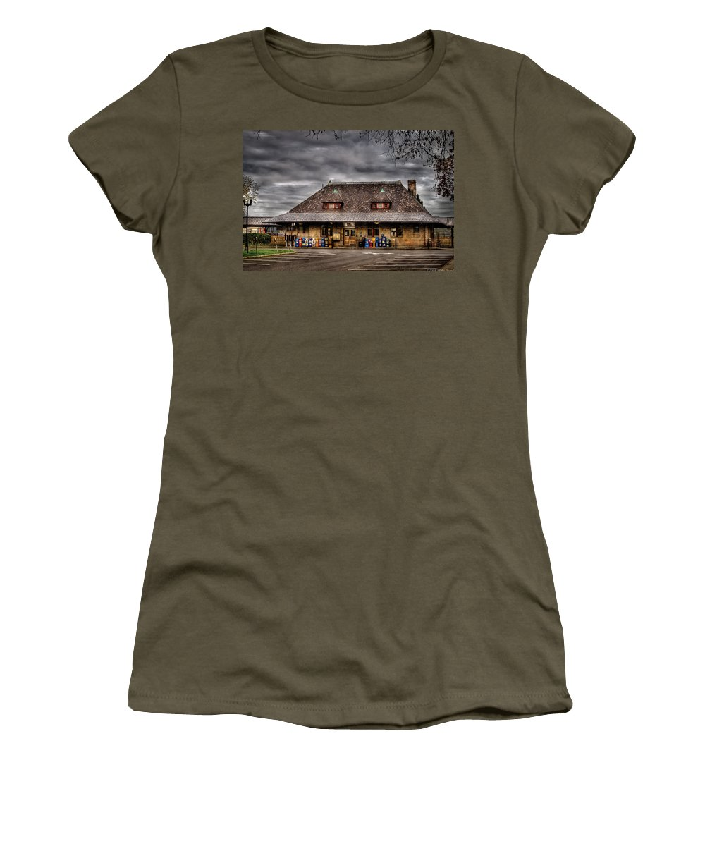 Savad Women's T-Shirt featuring the photograph Station - Westfield Nj - The Train Station by Mike Savad