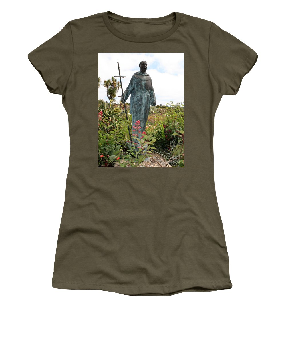 Father Serra Women's T-Shirt featuring the photograph Statue Of Father Serra At Carmel Mission by Carol Groenen