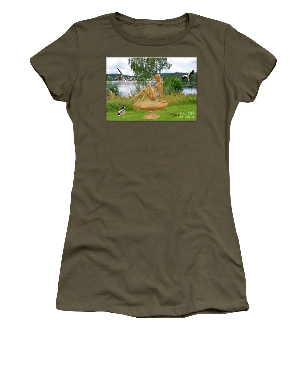 Modern Painting Women's T-Shirt featuring the mixed media Statue Of Girl 2 by Pemaro