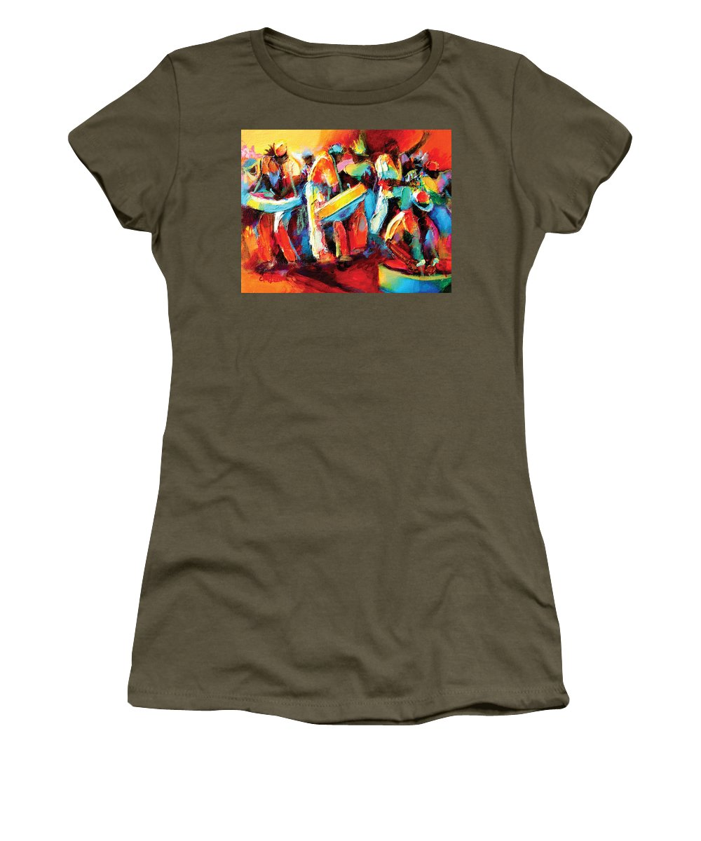 Steel Women's T-Shirt featuring the painting Steel Pan Revellers by Cynthia McLean