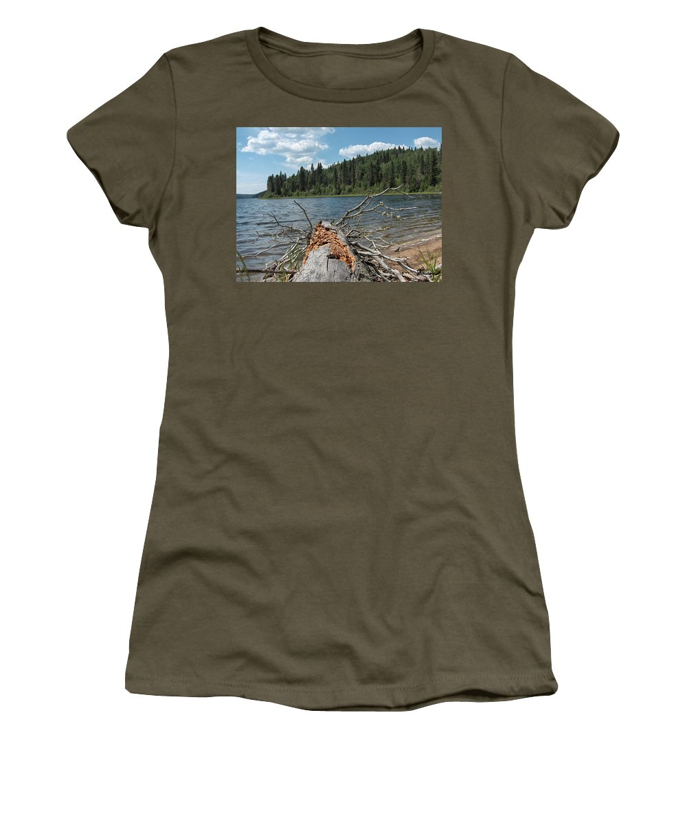 Water Lake Scenery Trees Wood Forest Driftwood Branches Shore Beach Women's T-Shirt featuring the photograph Steepbanks Lake The Fallen by Andrea Lawrence