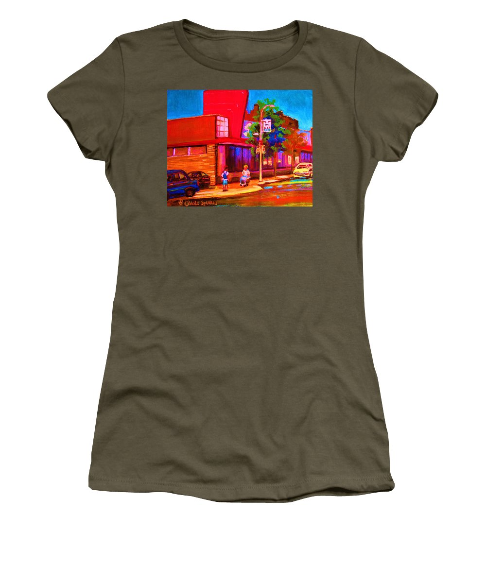 Steinbergs Women's T-Shirt featuring the painting Steinbergs Supermarket by Carole Spandau