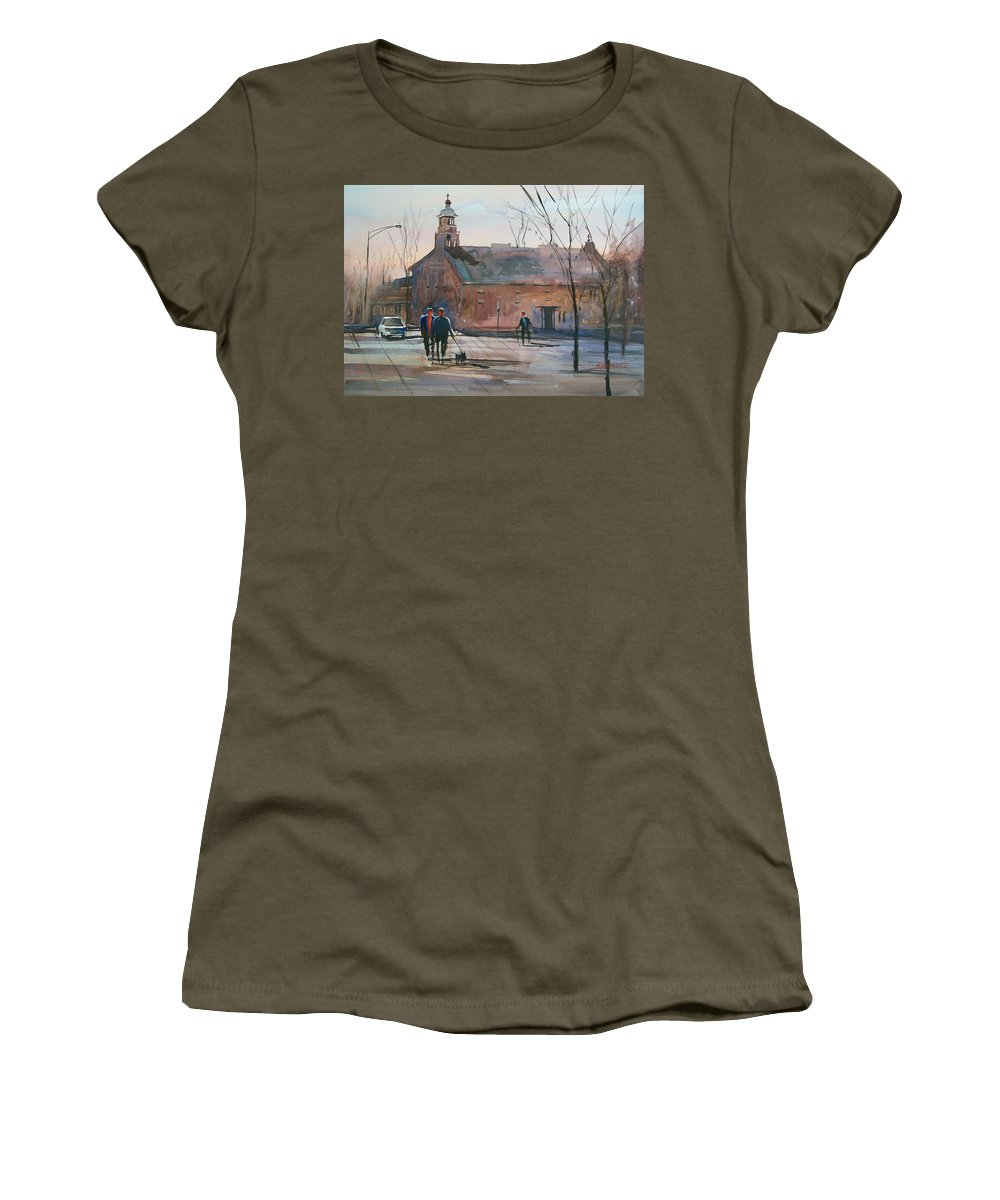 Street Scene Women's T-Shirt featuring the painting Steven's Point Church by Ryan Radke