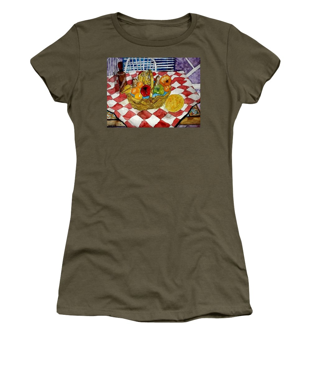 Still Life Watercolor Women's T-Shirt featuring the painting Still Life Art Fruit Basket 3 by Derek Mccrea