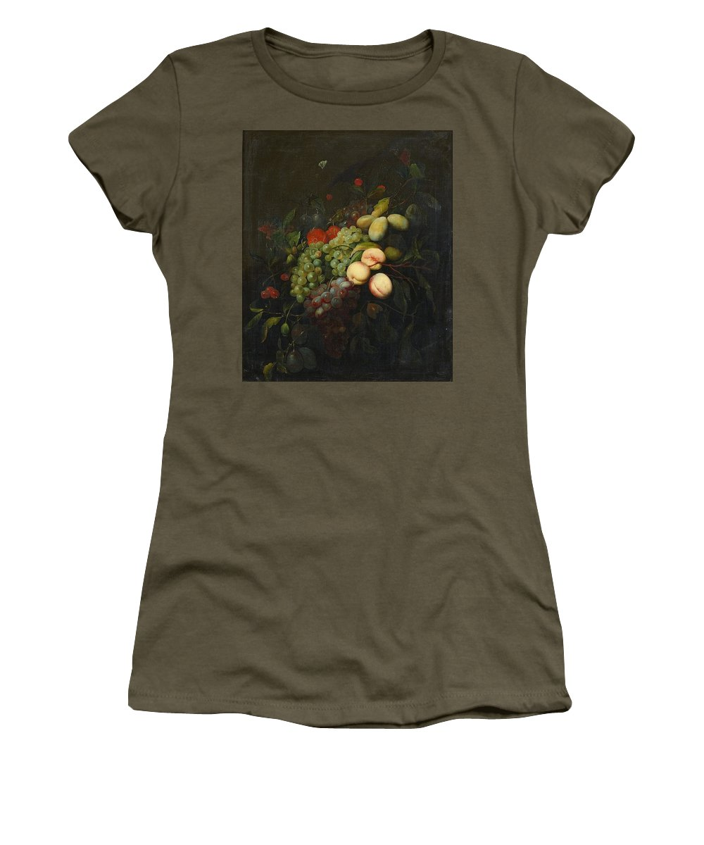Joris Van Son After Women's T-Shirt (Athletic Fit) featuring the painting Still Life With Plums by MotionAge Designs