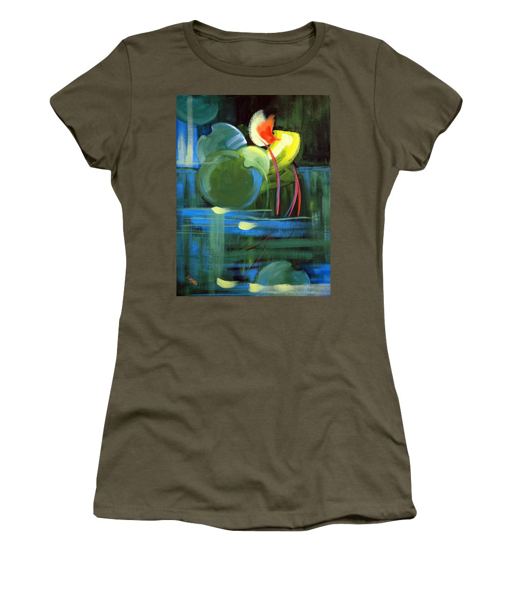 Abstract Women's T-Shirt featuring the painting Still Water by Suzanne McKee
