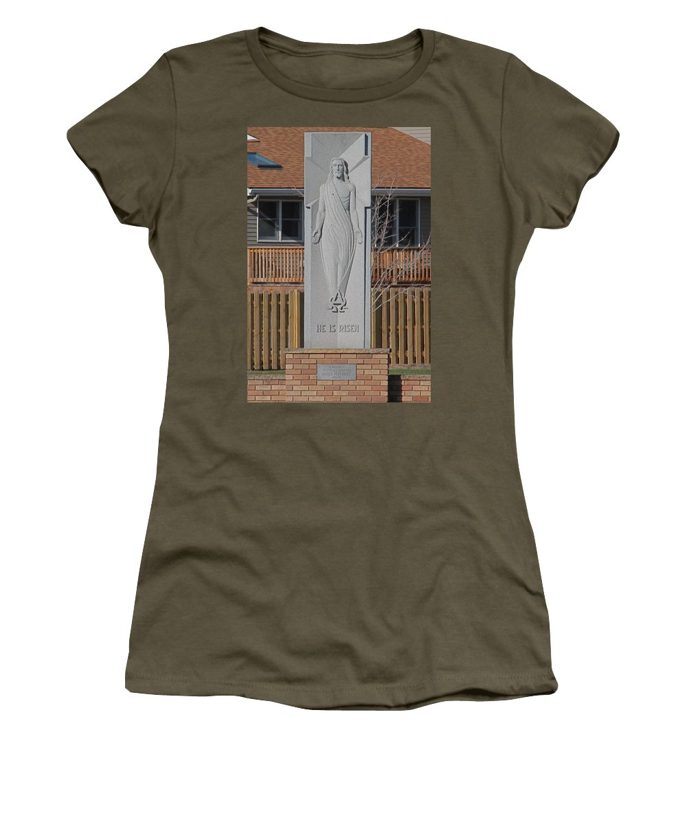 Religious Art Women's T-Shirt featuring the photograph Stone Jesus by Wayne Williams