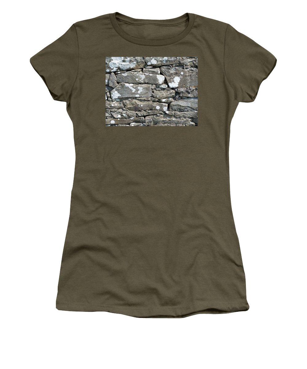 Irish Women's T-Shirt (Athletic Fit) featuring the photograph Stone Wall Detail Doolin Ireland by Teresa Mucha