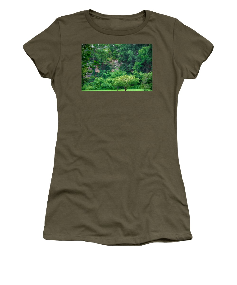 Southern Illinois Women's T-Shirt featuring the photograph Stony Rockface by John Diebolt