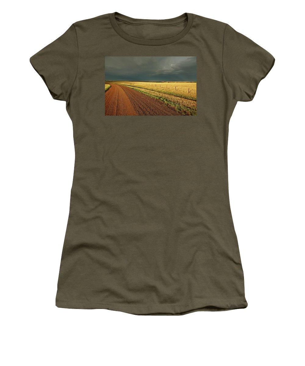 Roadside Women's T-Shirt featuring the digital art Storm Clouds Along A Saskatchewan Country Road by Mark Duffy