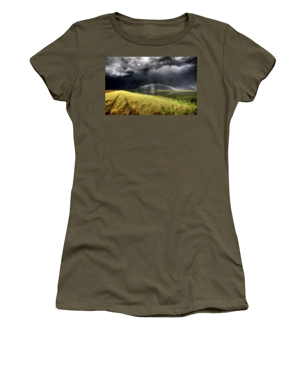 Storm Women's T-Shirt featuring the digital art Storm Clouds And Rainbow Over Chaplin Lake Marshes by Mark Duffy