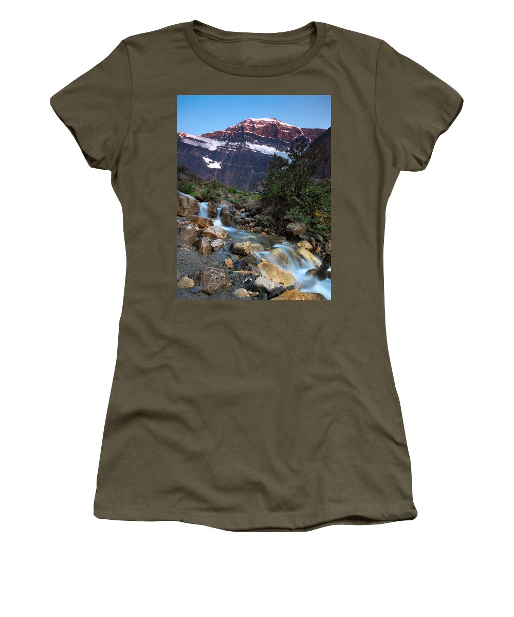 Jasper Women's T-Shirt featuring the photograph Stream And Mt. Edith Cavell At Sunset by Cale Best