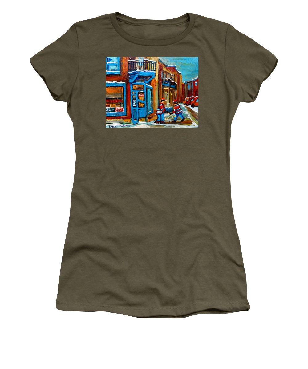 Wilenskys Women's T-Shirt (Athletic Fit) featuring the painting Street Hockey At Wilensky's Montreal by Carole Spandau