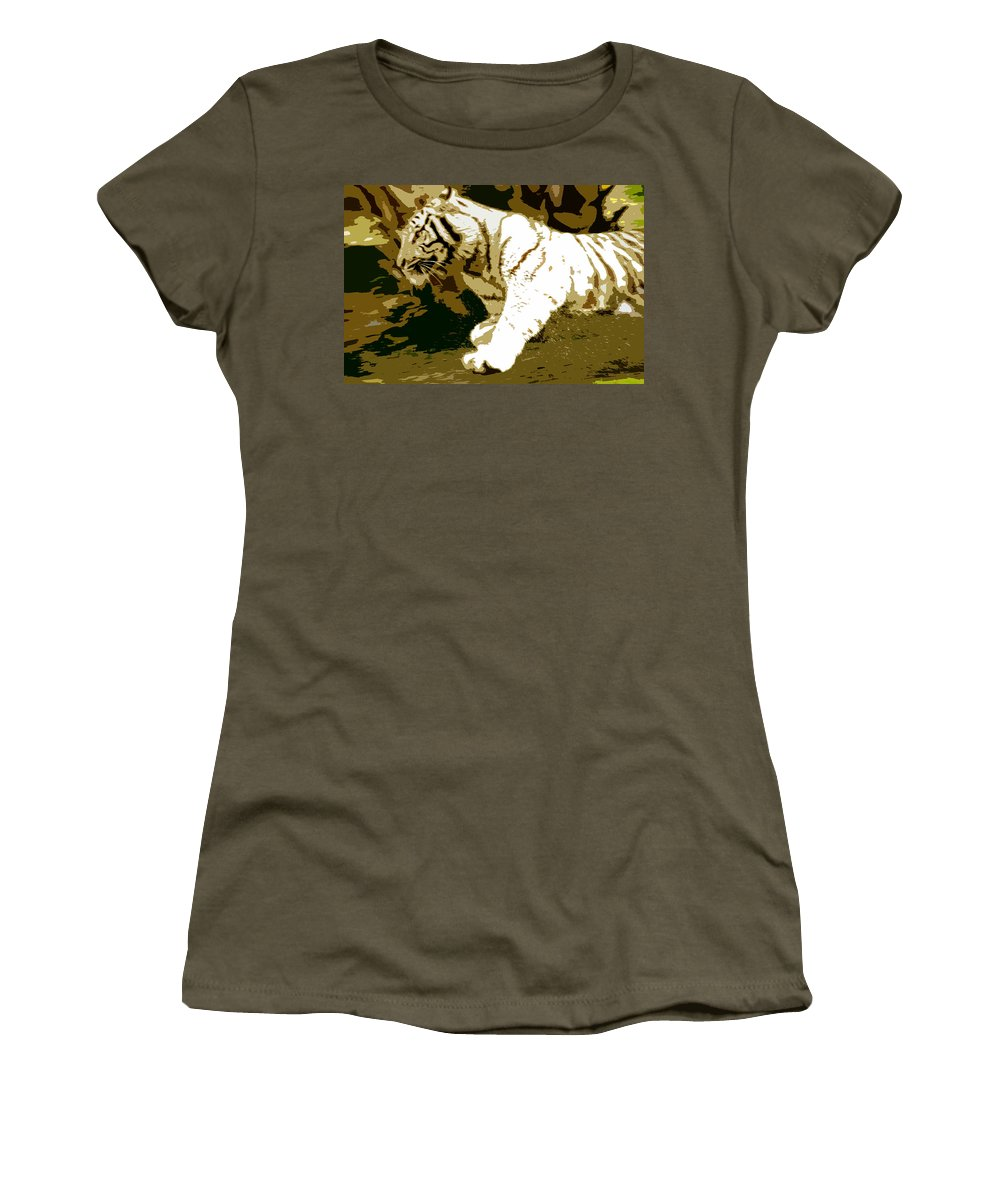 Tiger Women's T-Shirt featuring the painting Striking Tiger by David Lee Thompson