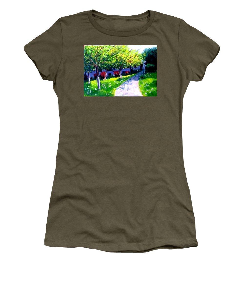 Student M City Women's T-Shirt featuring the painting Student Panorama Of The City Of Tirana by Zana Rruplli
