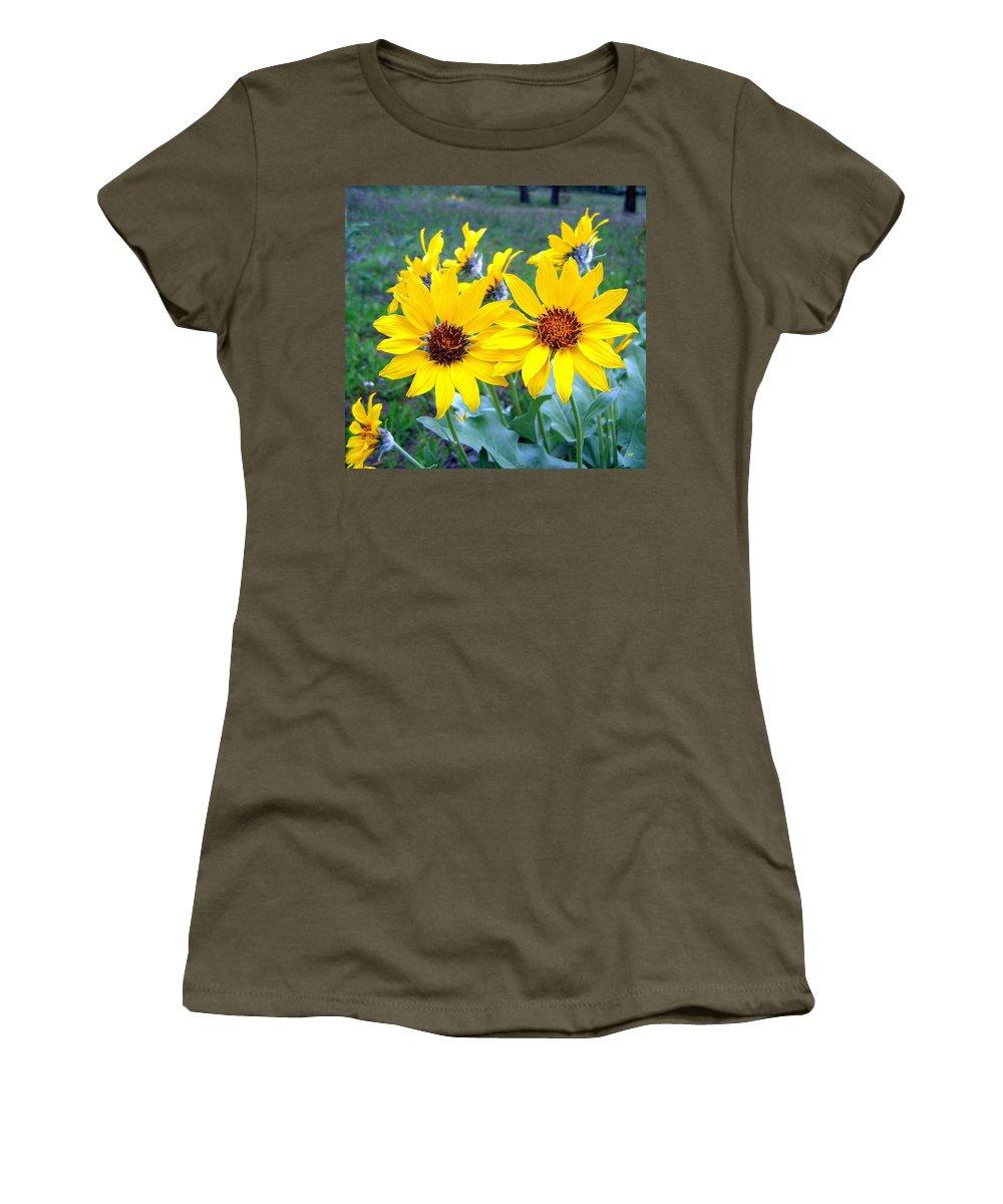 Sunflowers Women's T-Shirt featuring the photograph Stunning Wild Sunflowers by Will Borden