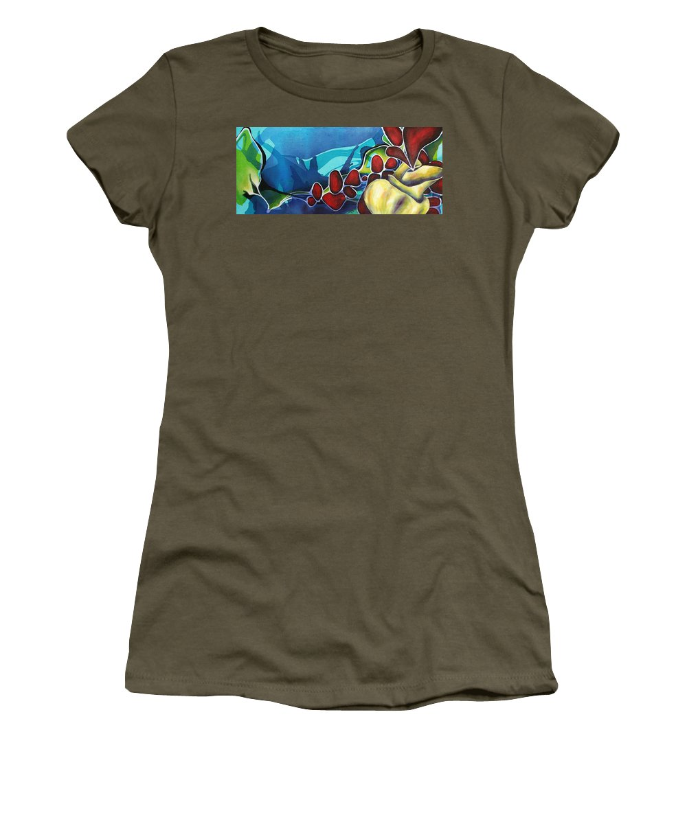 Non Representational Women's T-Shirt (Athletic Fit) featuring the painting Subsiding Into Me by Darcy Lee Saxton