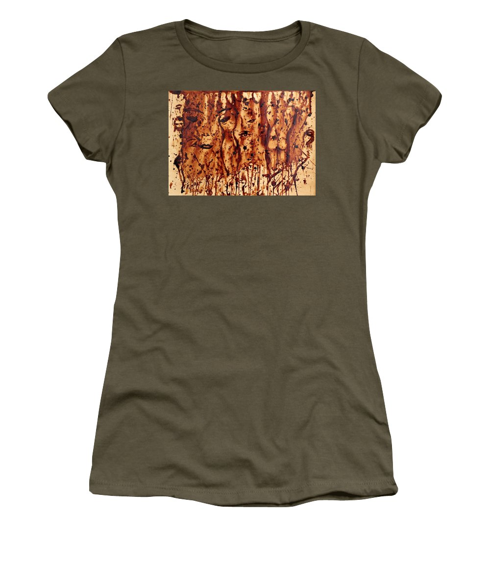 Abstract Coffee Painting On Paper Women's T-Shirt featuring the painting Subtle Atraction Coffee Painting by Georgeta Blanaru