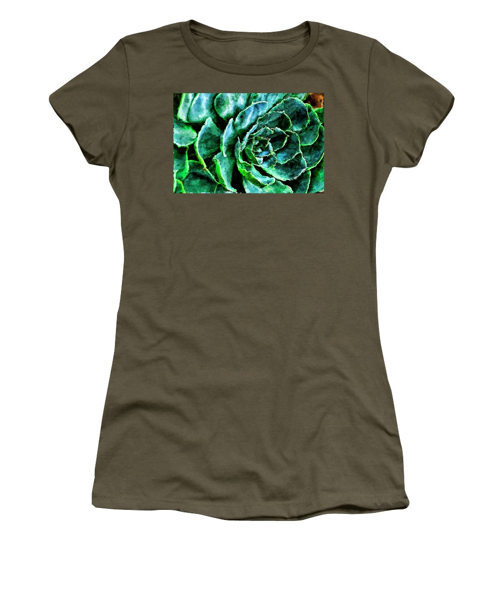 Recent Women's T-Shirt featuring the photograph succulents Rutgers University Gardens by Geraldine Scull