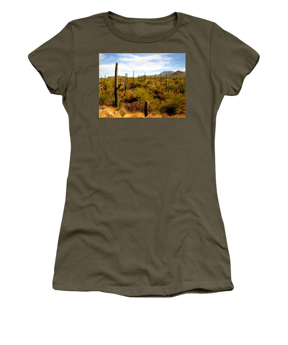 Suguaro Cactus Women's T-Shirt (Athletic Fit) featuring the photograph Suguro National Park by Kurt Van Wagner