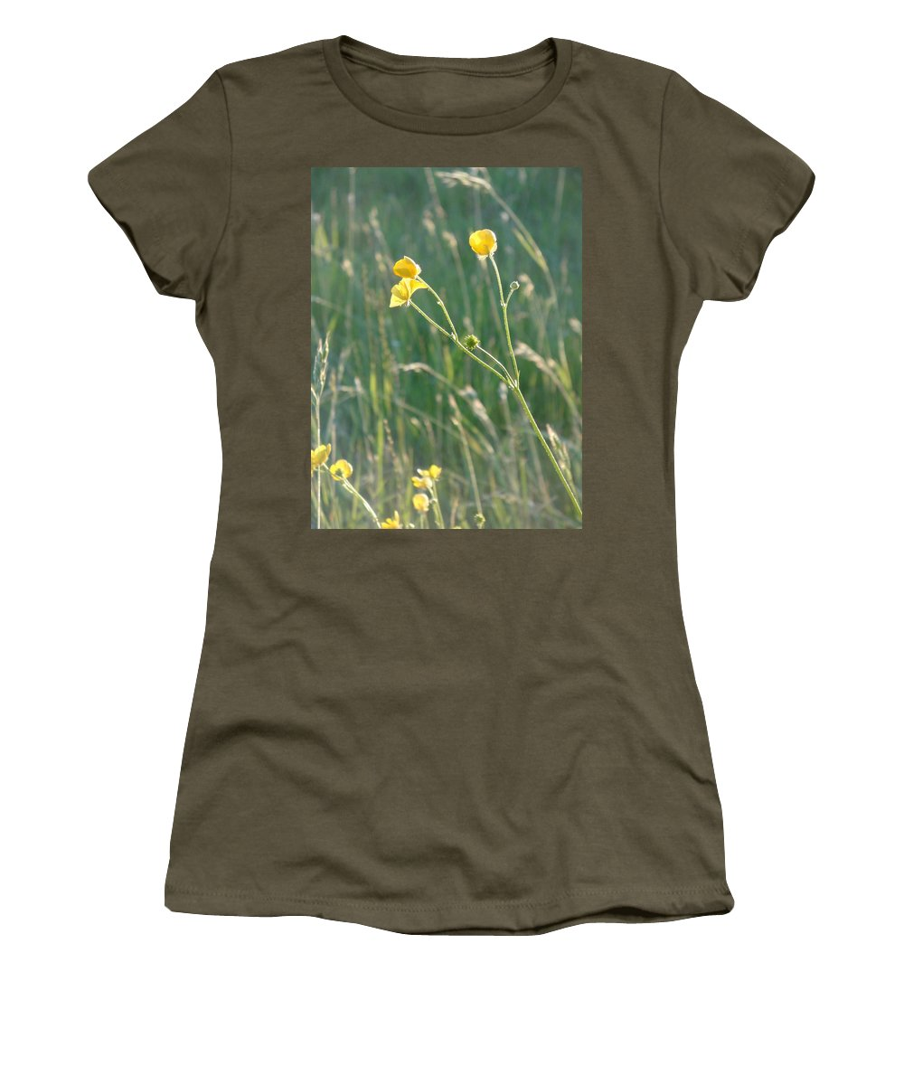 Flowers Women's T-Shirt (Athletic Fit) featuring the photograph Summer Buttercups by Susan Baker