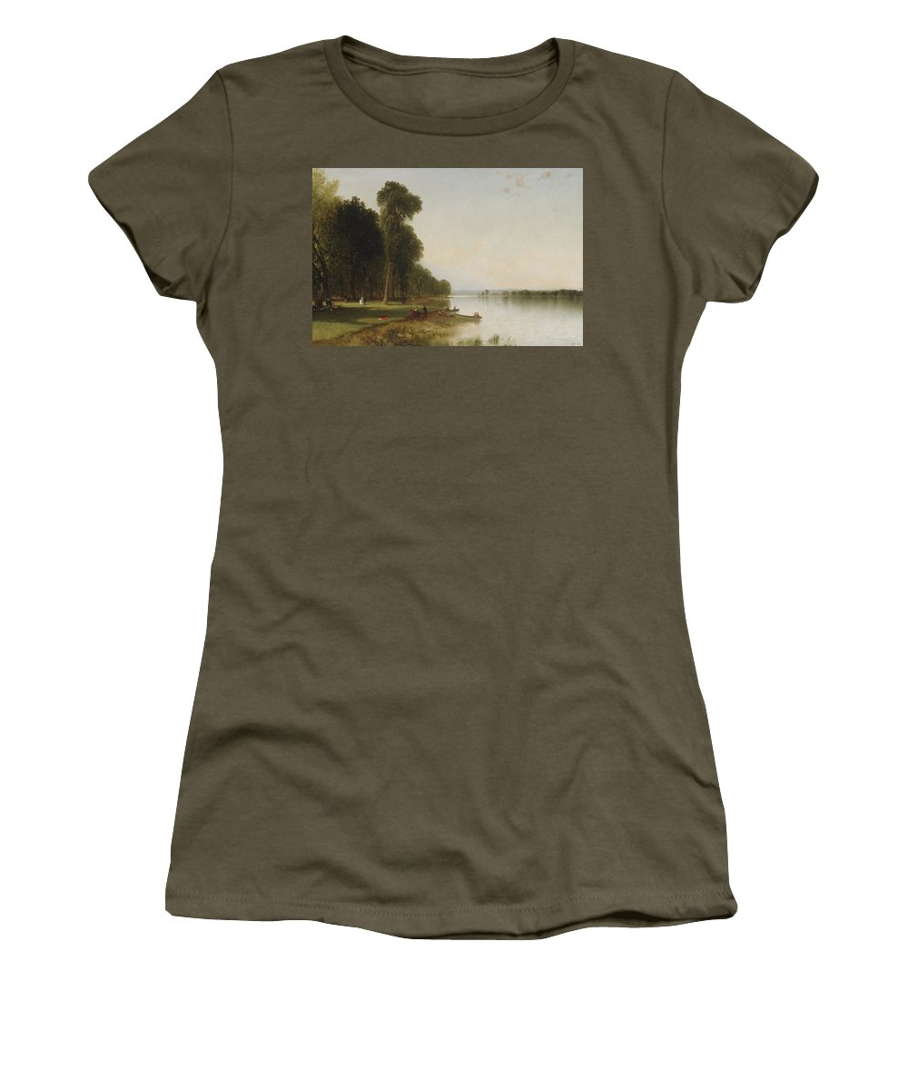 John Frederick Kensett Women's T-Shirt (Athletic Fit) featuring the painting Summer Day On Conesus by John Frederick