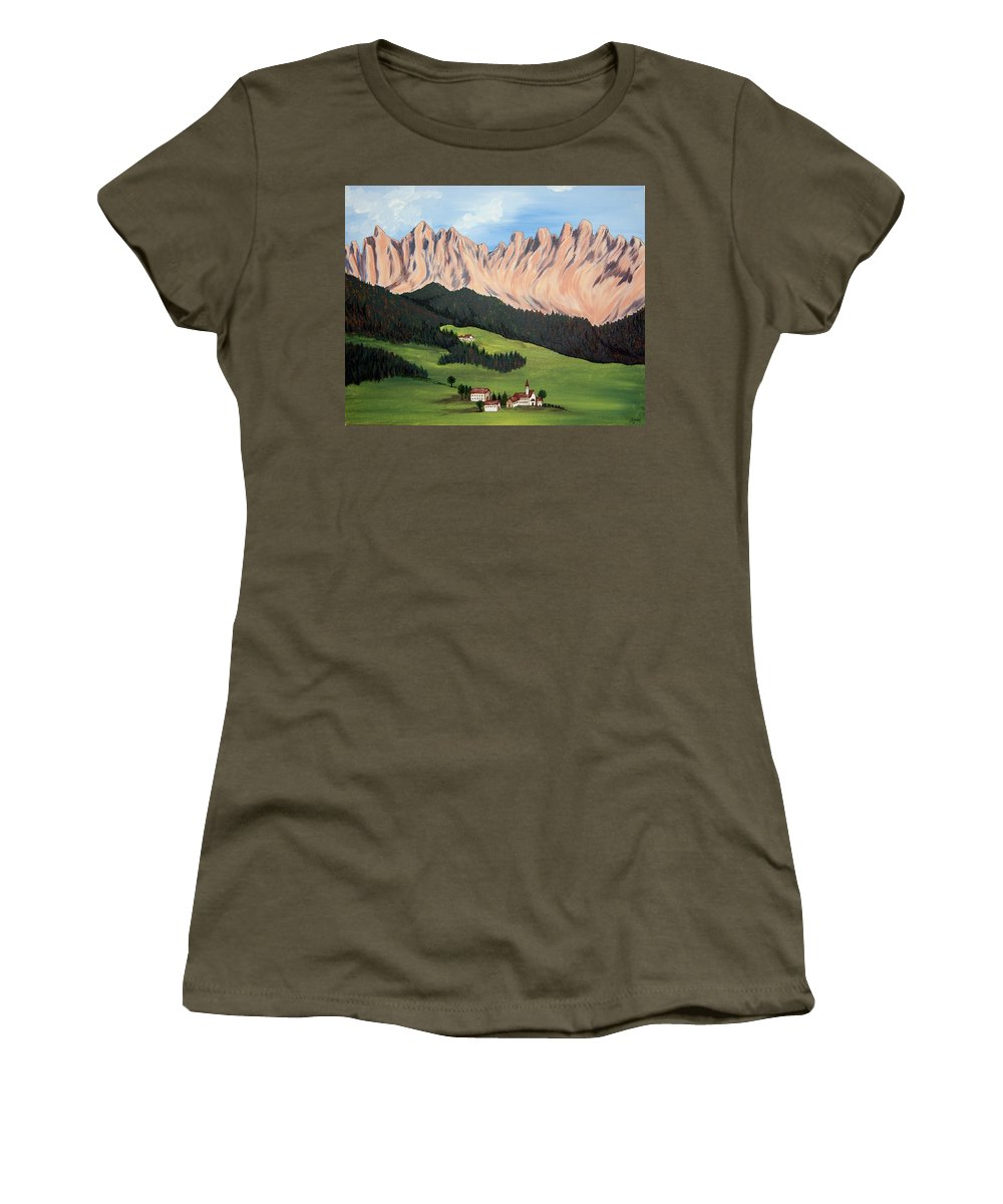 Landscape Women's T-Shirt (Athletic Fit) featuring the painting Summer In Switzerland by Marco Morales
