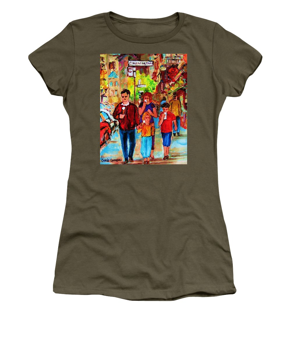 Montreal Streetscenes Women's T-Shirt featuring the painting Summer In The City by Carole Spandau