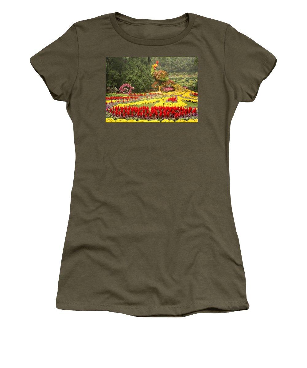 Phoenix Symbol Of Empress Women's T-Shirt featuring the photograph Summer Palace Flower Phoenix by Carol Groenen