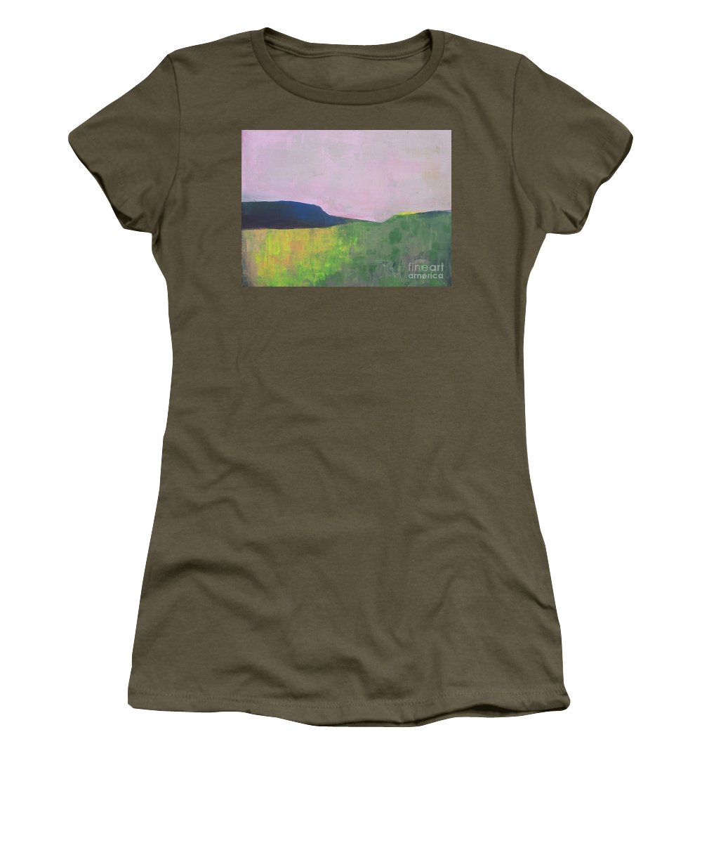 Abstract Landscape Women's T-Shirt featuring the painting Summer Valey by Vesna Antic