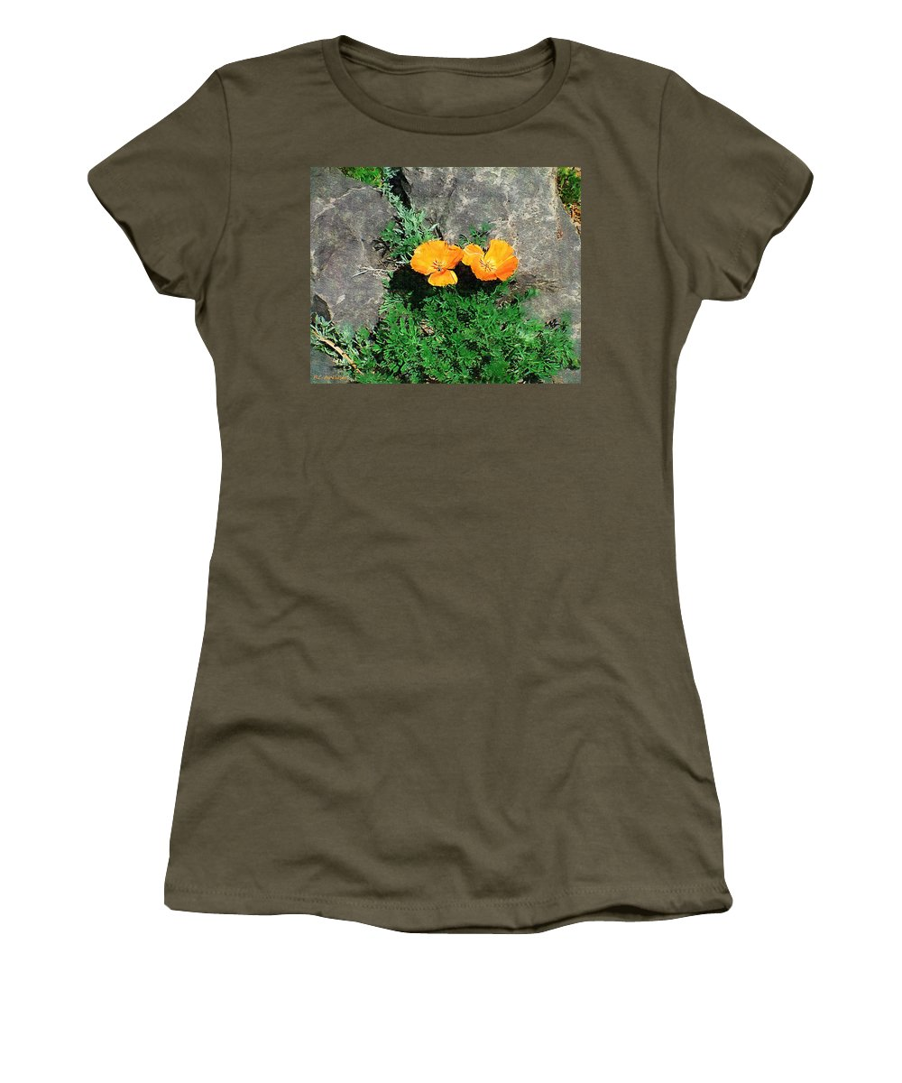 Cliff Women's T-Shirt (Athletic Fit) featuring the painting Sunbathers by RC DeWinter