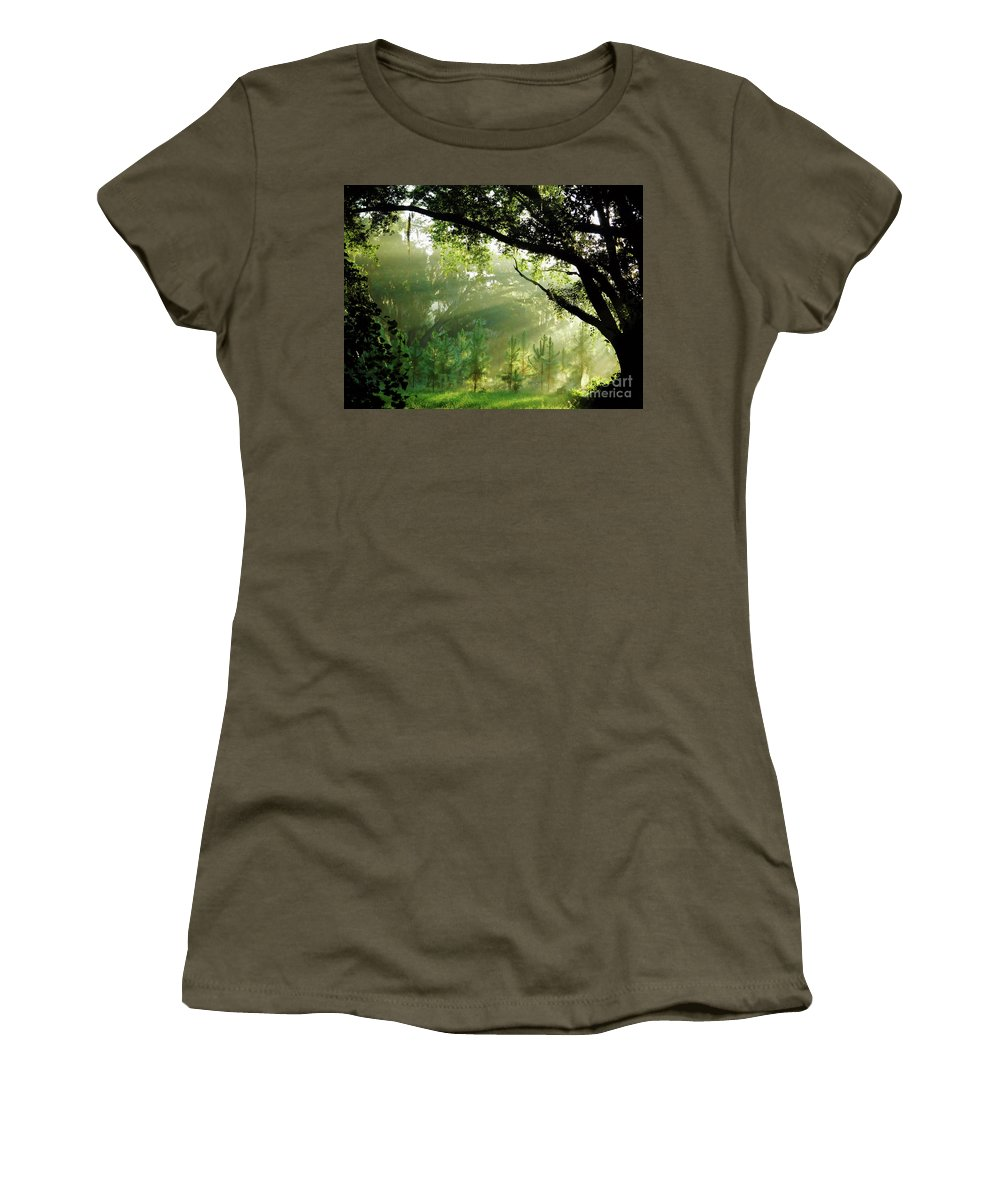 Sunrise Women's T-Shirt featuring the photograph Sunbeams In The Forest by D Hackett