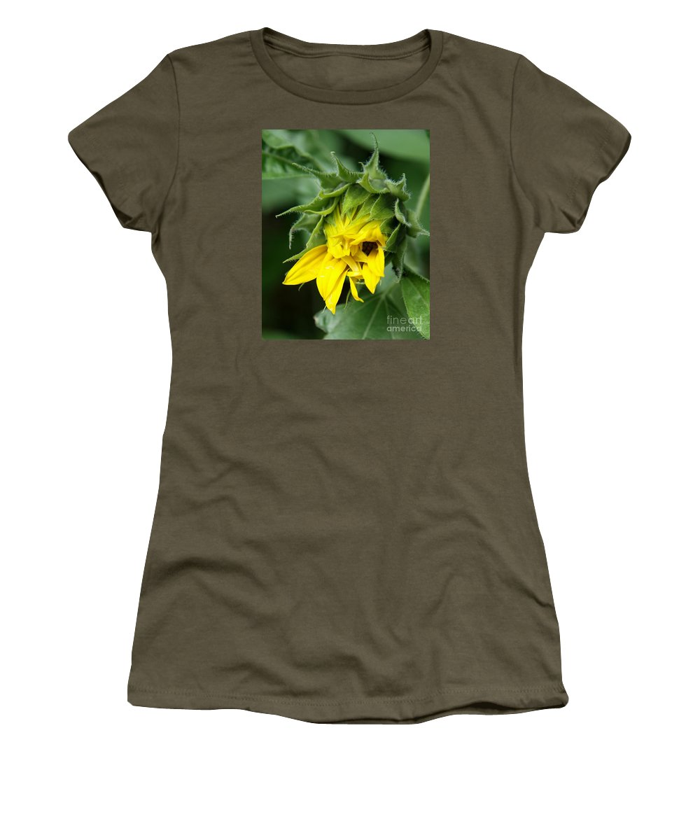 Sunflower Women's T-Shirt featuring the photograph Sunflower Bud by Christiane Schulze Art And Photography