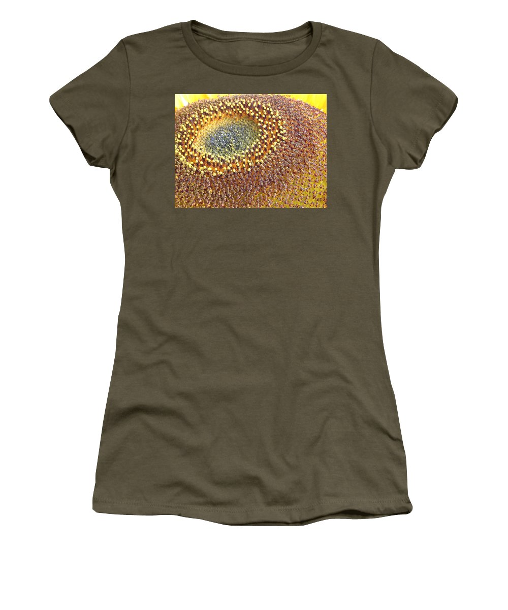 Sunflower Women's T-Shirt (Athletic Fit) featuring the photograph Sunflower Heart by Line Gagne