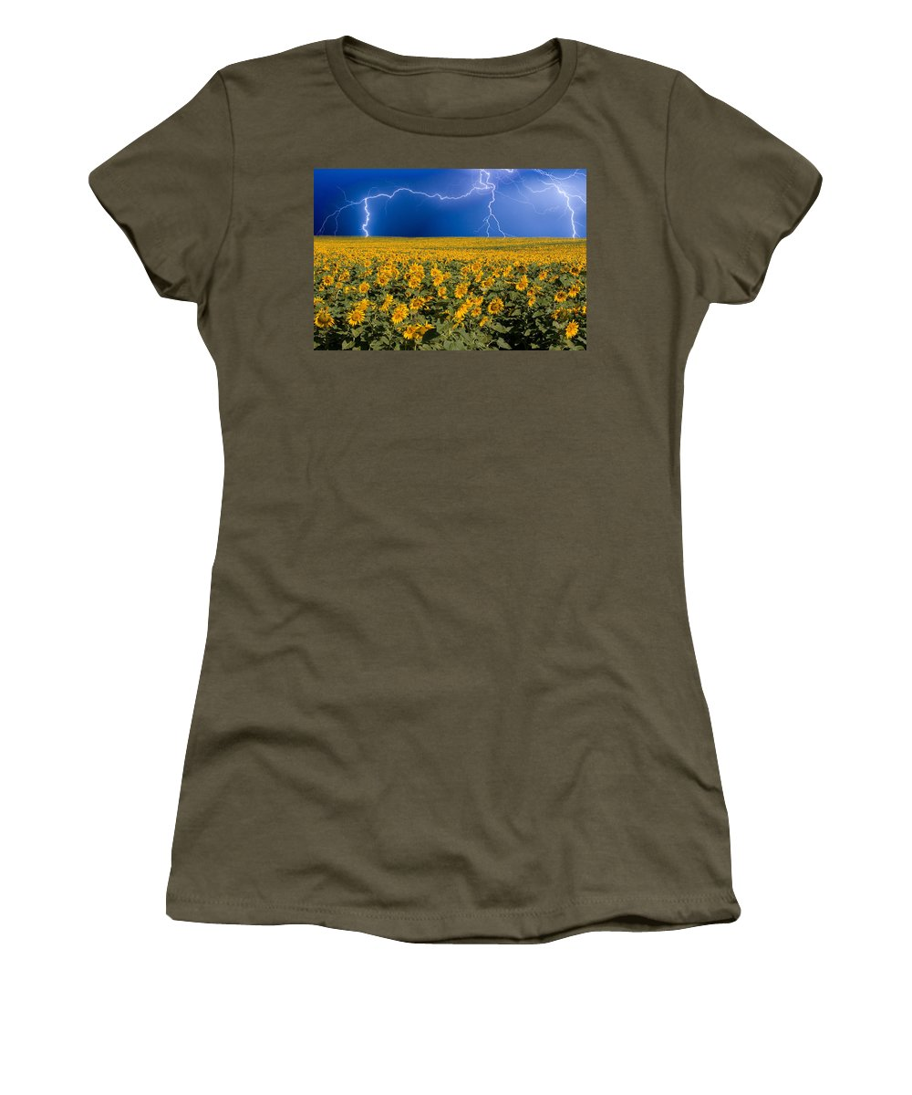 Sunflowers Women's T-Shirt featuring the photograph Sunflower Lightning Field by James BO Insogna